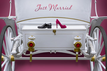 White exclusive wedding carriage for lovers