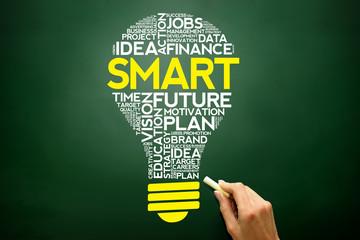 SMART bulb word cloud, business concept on blackboard