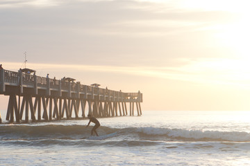 Early morning surfing at the Pier.