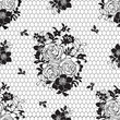 black and white pattern in the form of lace with flowers - 80379749