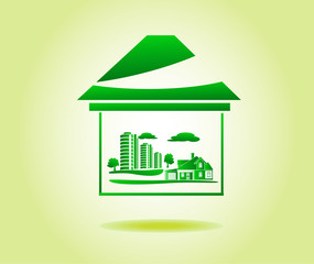 card, advertising ecological houses and cities