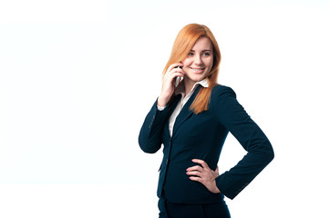Red hair young woman talking on the phone