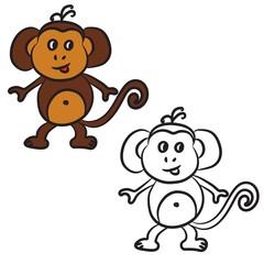 Cute cartoon monkey. Coloring book. Vector illustration