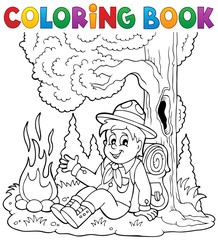 Coloring book scout boy theme 1
