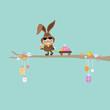 Bunny Sunglasses Handcart Easter Eggs Retro