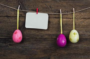 Easter Eggs On Wooden Background, Vintage