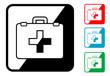 Icono simbolo botiquin en varios colores