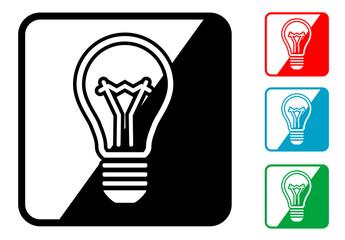 Icono simbolo bombilla en varios colores