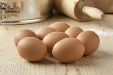 Fresh brown eggs to use for baking