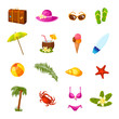 Beach multicolored icons set - 80382535