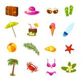 Beach multicolored icons set