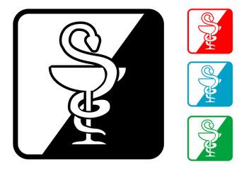 Icono simbolo farmacia en varios colores