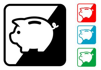 Icono simbolo hucha en varios colores