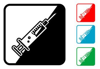 Icono simbolo jeringuilla en varios colores