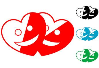 Pictograma corazones sonrientes en varios colores.