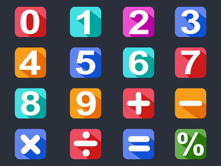 numbers and math long shadow icons set