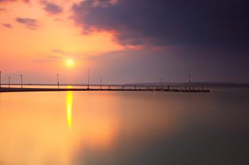 Sunset lake landscape