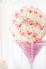 Wedding table decoration and floral centerpiece