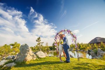 bride groom arch