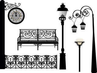 street clock and other elements isolated on white