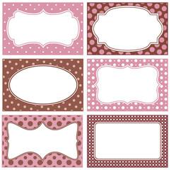 White frames with polka dot background