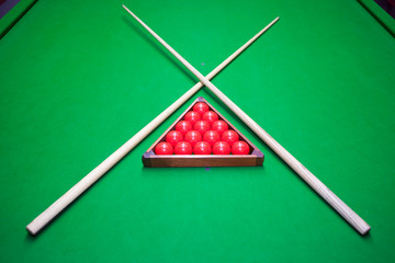 snooker set on table