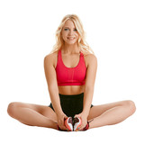 Image of charming blonde training stretching poster