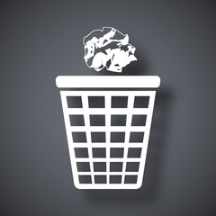 Vector trash basket icon with crumpled paper