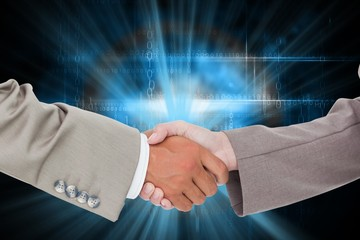 Composite image of side view of shaking hands