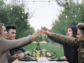 An apple orchard in Utah. Group of people toasting with a glass of cider, food and drink on a table.