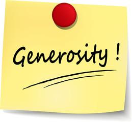 generosity yellow note