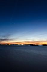 Vertical night landscape of Karlskrona city coast