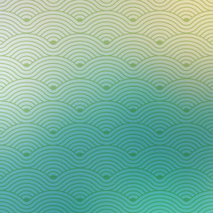 Geometric vector waves pattern texture on blurred background