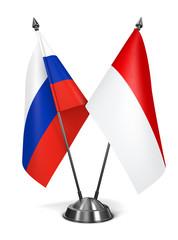Russia and Monaco - Miniature Flags.