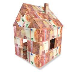 Haus aus 10 Euroscheinen