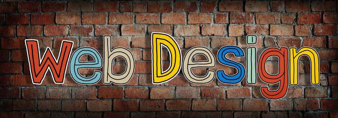 Words Web Design Brick Wall Concept