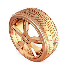 Golden tire on white isolated background.