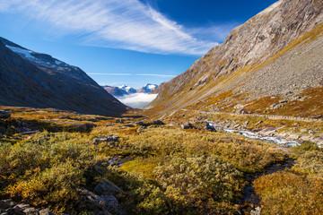 sunny autumn view Norway Gamle Strynefjellsvegen