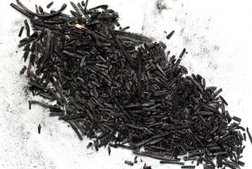 black ash on a white background