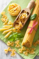 raw pasta farfalle spaghetti penne tagliatelle. italian cuisine