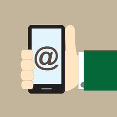 smartphone on hand mail