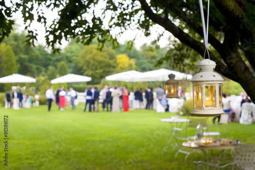 Foto op Canvas Buffet, Bar wedding reception outdoor