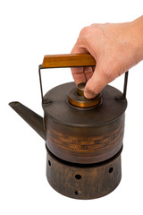 Japanese Style copper kettle on stove