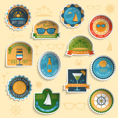 Summer vacation emblems stickers set