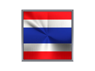Square metal button with flag of thailand