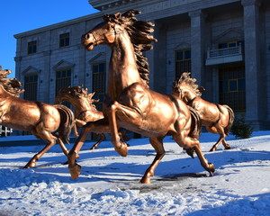 Copper sculpture of a horse racing - in Astana, Kazakhstan