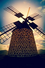 Windmill at sunset, Canary Islands