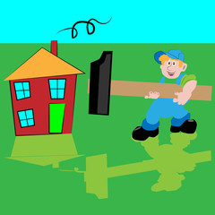 A cartoon carpenter or construction guy with a hammer