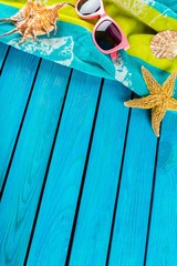 Summer. Beach scene with blue decking