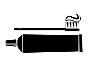 Toothbrush with toothpaste tube vector icon